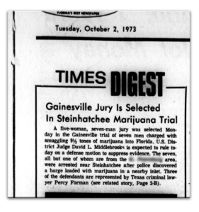Newpaper clipping from the original Steinhatchee 7 Bust.