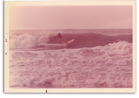 Early 70's surfing on the beach at 8th street