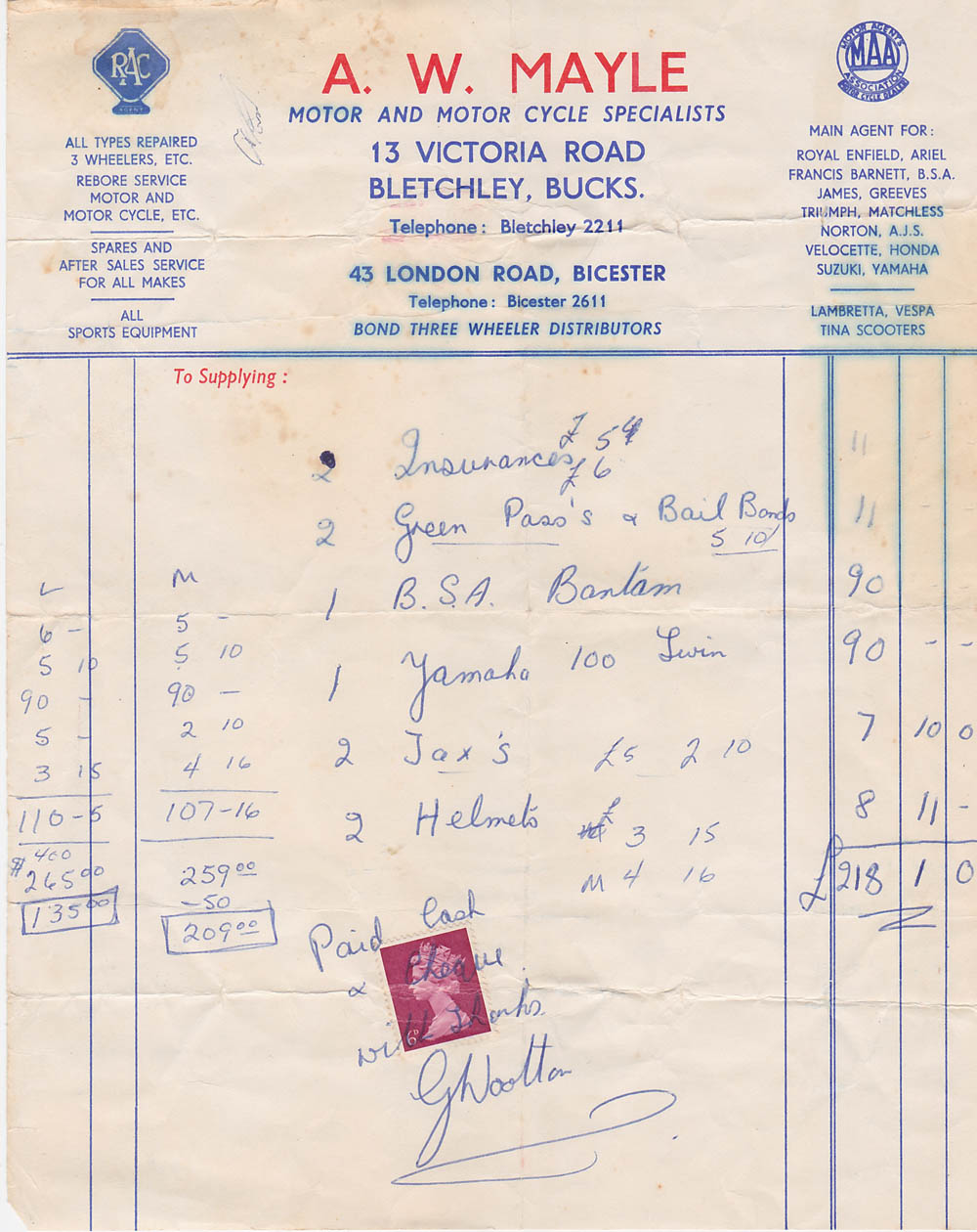Skip Steele's receipt for the BSA 175