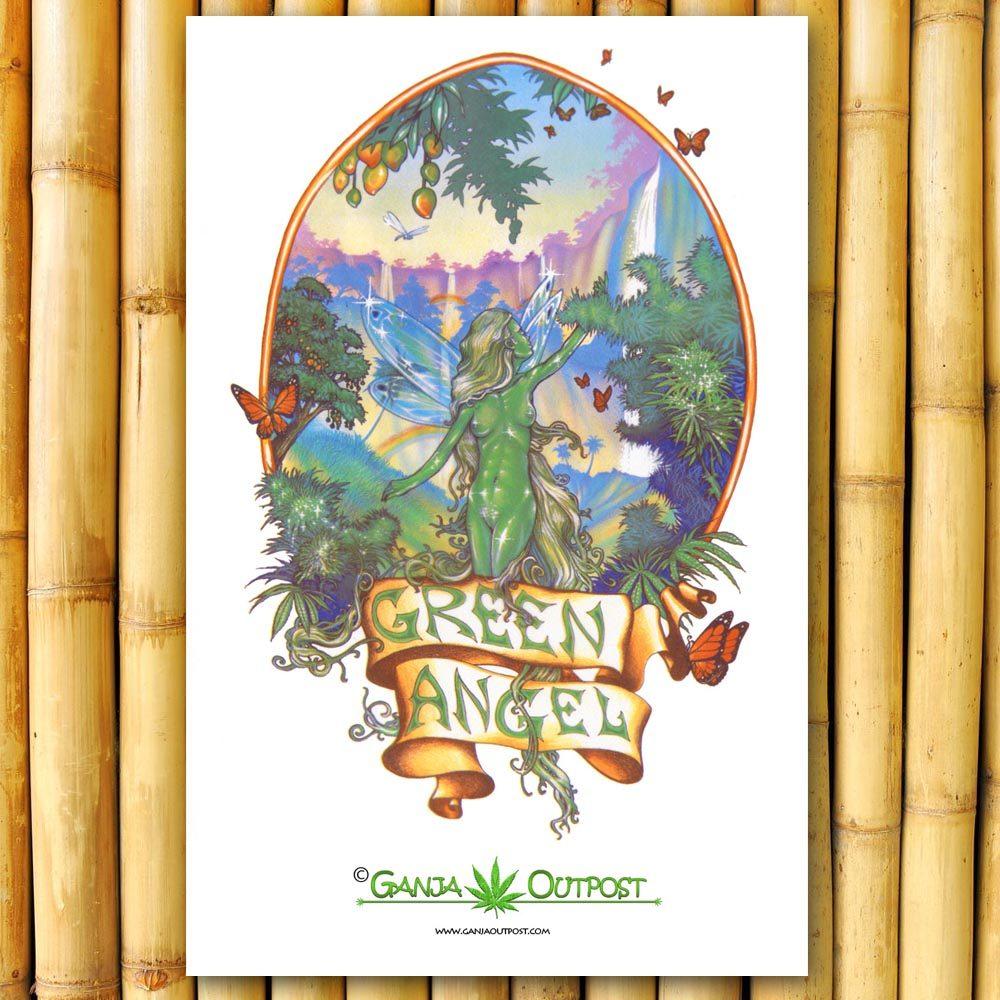 Green Angel Poster Marijuana Posters Ganja Outpost