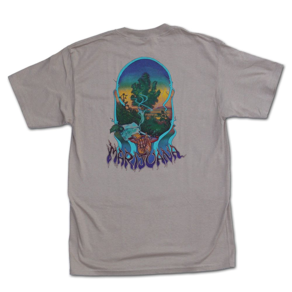 Ganja Outpost Marijuana Tshirt in Tan