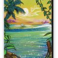 Caribbean Sunset Fine Art Reproduction with Black Border