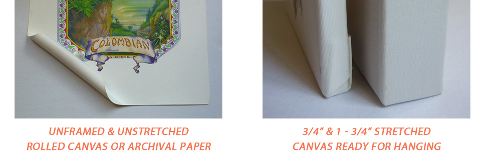 Choose between Rolled Canvas or Stretched Canvas Art Reproductions
