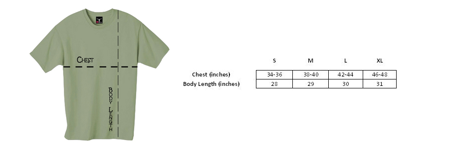 T-shirt sizing for the Long Sleeve Colombian Gold T-shirt from Ganja Outpost.