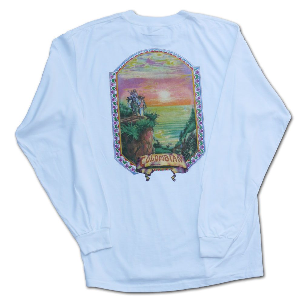 Colombian Gold Marijuana Tshirt longsleeve in white from Ganja Outpost weed apparel.