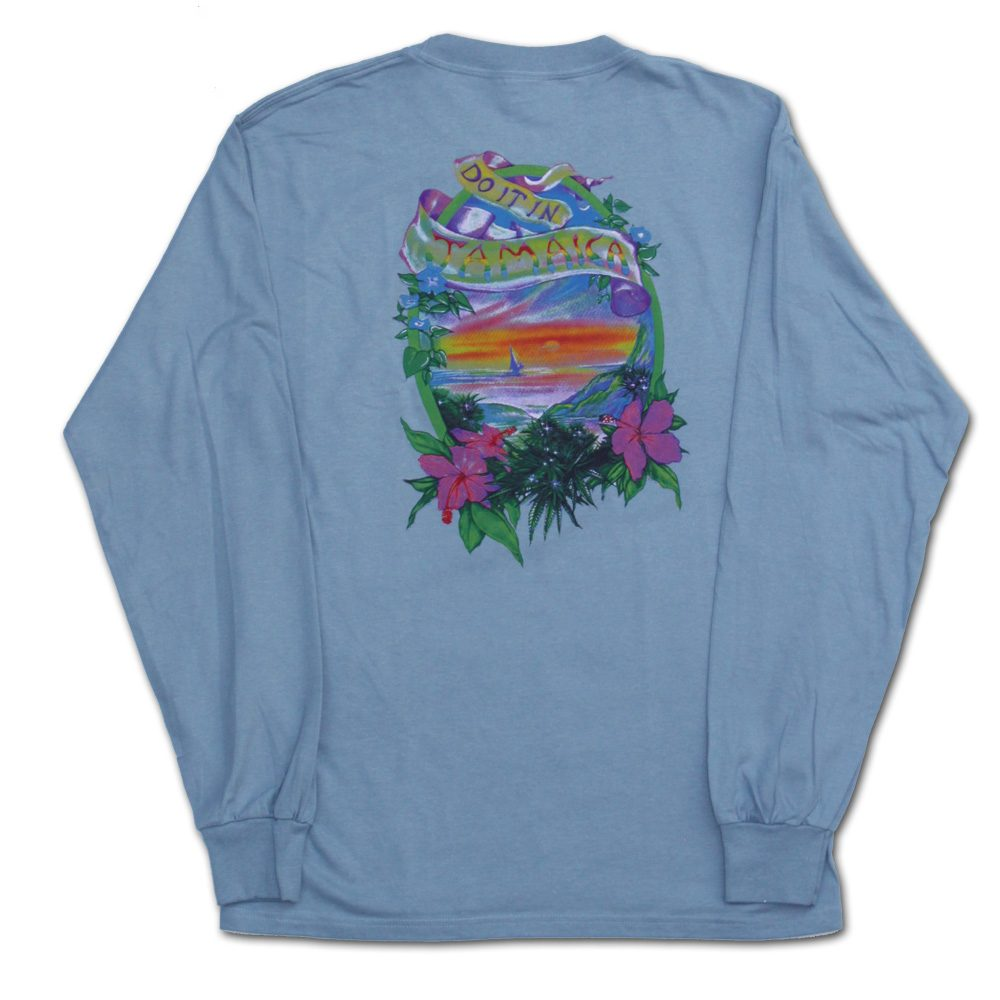 Do it in Jamaica Cannabis Tshirt Long Sleeve in Blue