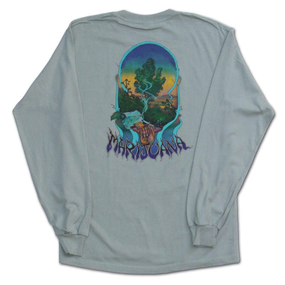 Marijuana Tshirt in Green Long Sleeve from Ganja Outpost