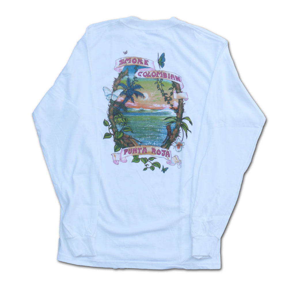 Smoke Colombian White Long Sleeve Weed Tshirt