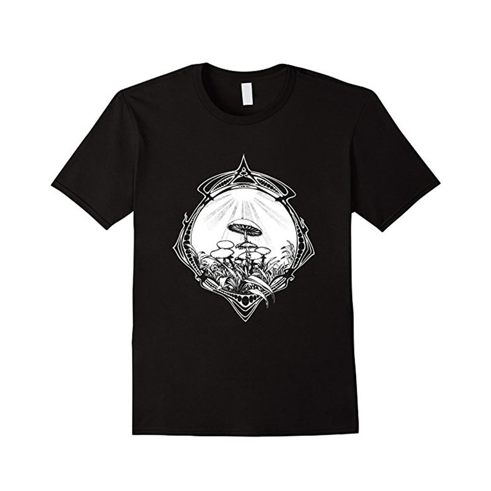 Trippy Magic Mushroom T-shirt in Black