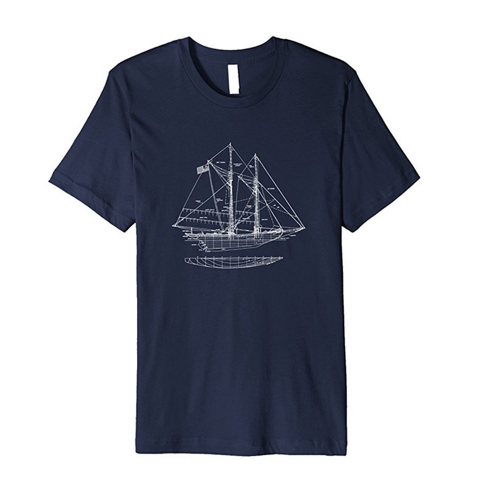 Vintage Blueprint Sailboat Navy Tshirt exclusively from Outpost Clothing.