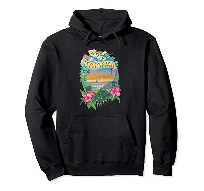 Image of a black colored Do it in Jamaica Vintage Marijuana Hoodie from Ganja Outpost
