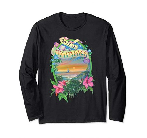 Image of a black colored Do it in Jamaica Vintage Marijuana Long Sleeve T-shirt from Ganja Outpost