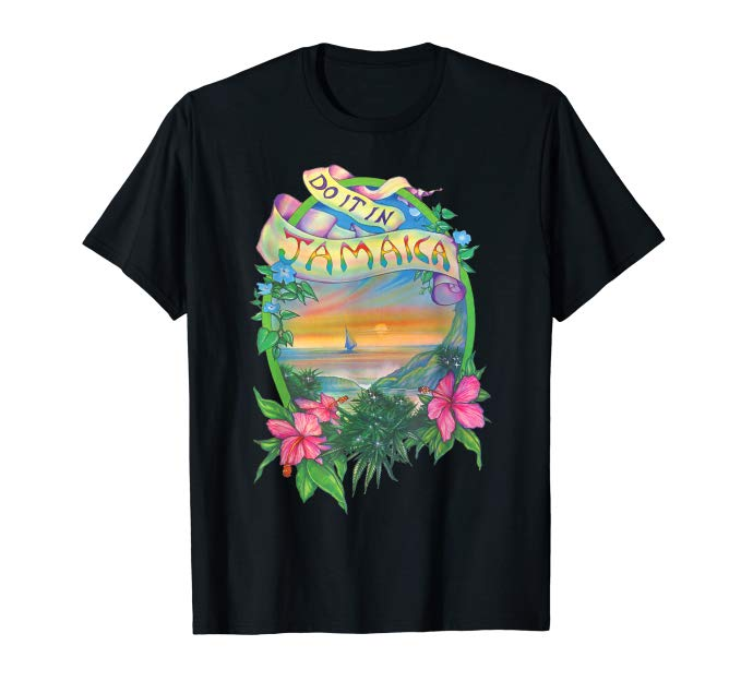 Image of a black colored Do it in Jamaica Vintage Marijuana T-shirt from Ganja Outpost