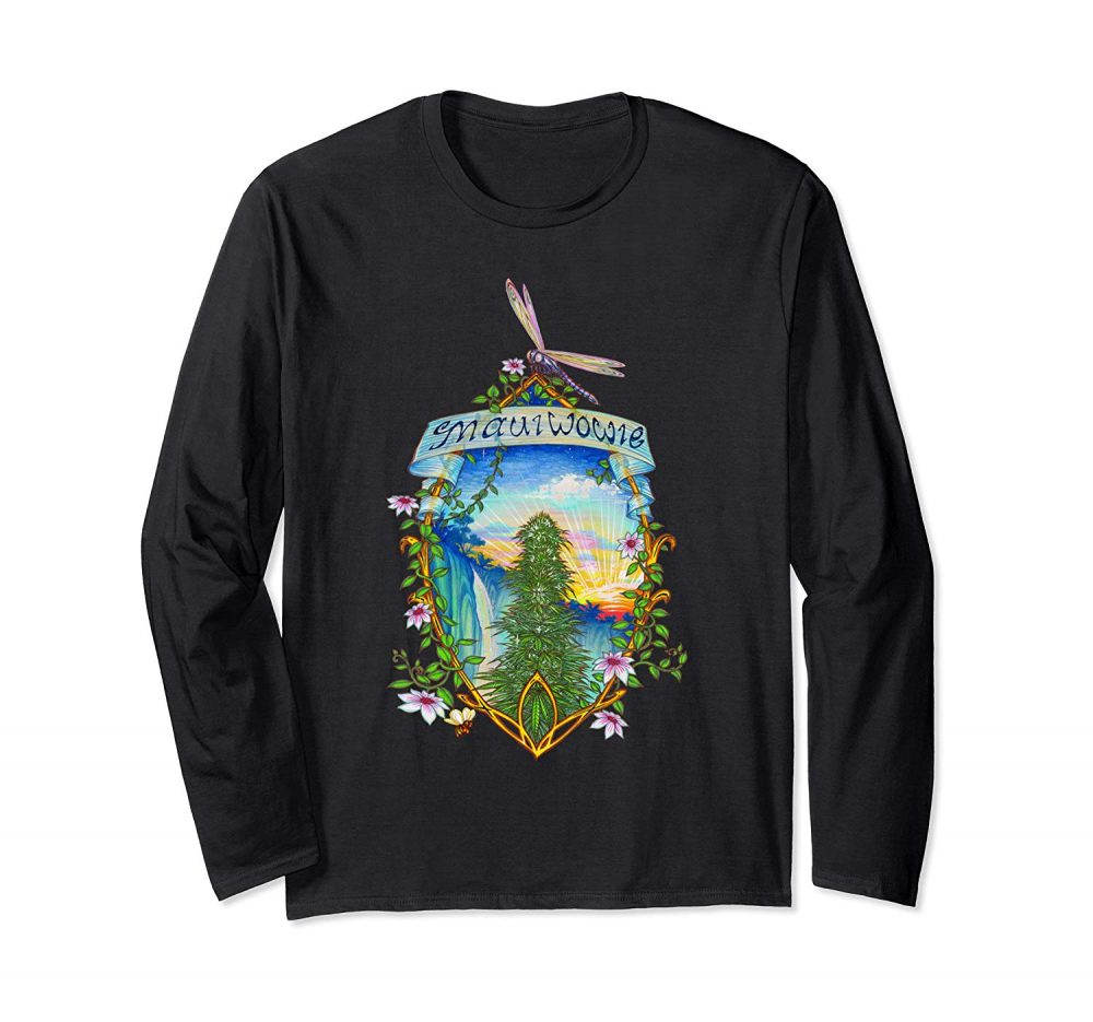 Image of a black colored Maui Wowie Vintage Marijuana Long Sleeve T-shirt from Ganja Outpost.