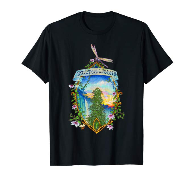 Image of a black Maui Wowie VIntage Marijuana T-shirt from Ganja Outpost