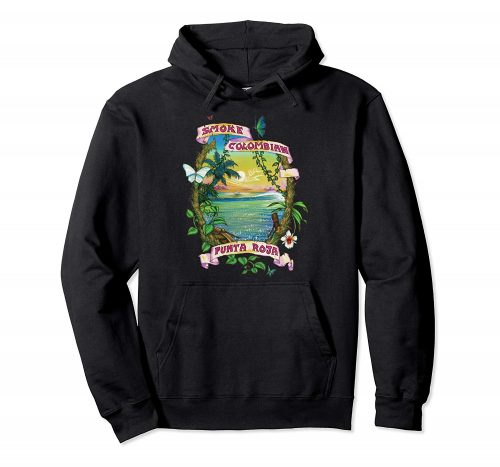 Image of a black colored Smoke Colombian Red Bud Vintage Marijuana Hoodie from Ganja Outpost