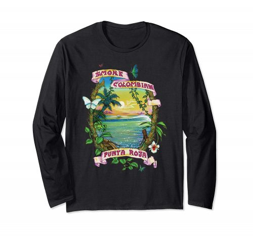 Image of a black colored Smoke Colombian Red Bud Vintage Marijuana Long Sleeve T-shirt from Ganja Outpost