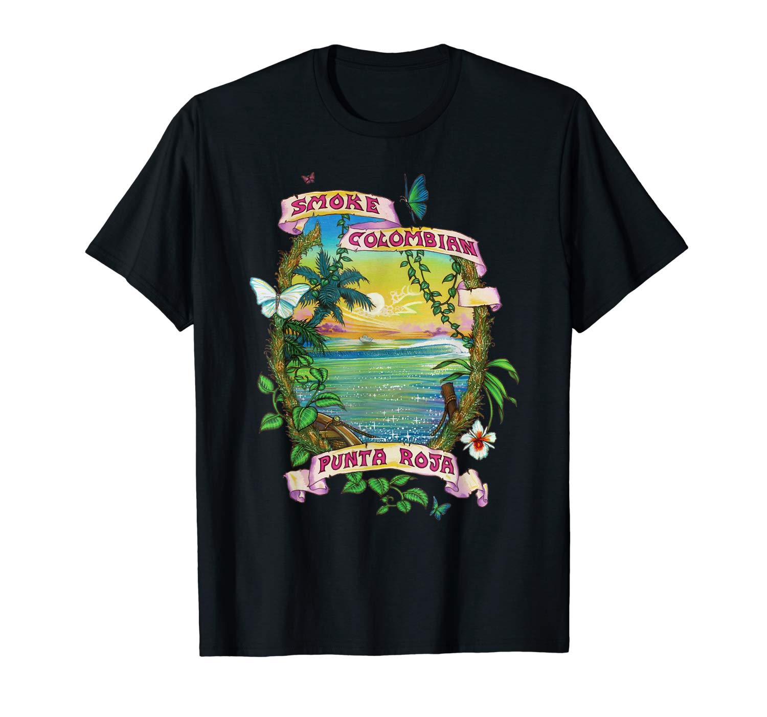 Image of a black colored Smoke Colombian Red Bud Vintage Marijuana T-shirt from Ganja Outpost