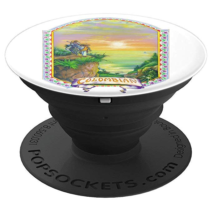 An expanded view of a Colombian Gold Popsocket for phones and tablets from Ganja Outpost.