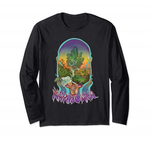 An Image of the black Smoke Marijuana Long Sleeve T-shirt from Ganja Outpost
