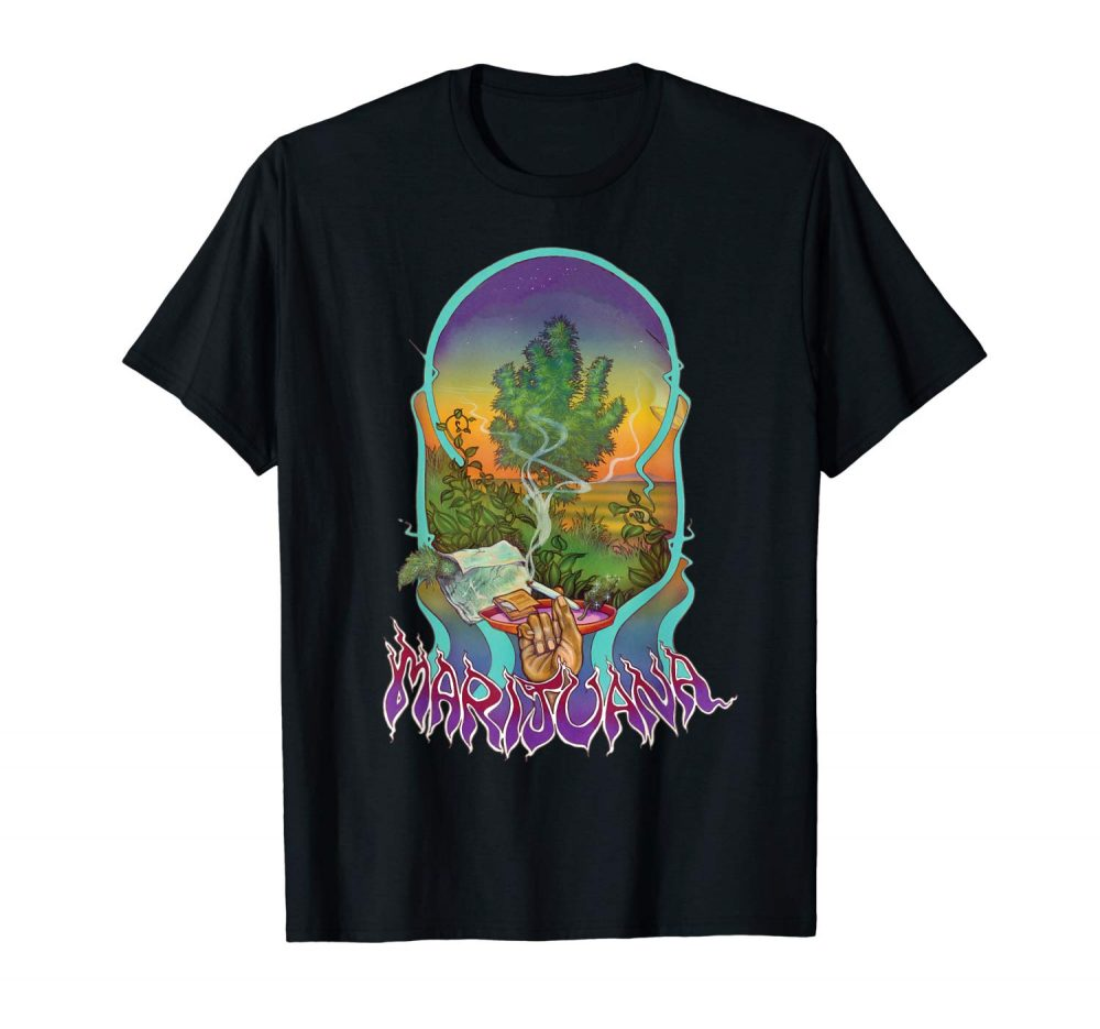 An Image of the black Smoke Marijuana T-shirt from Ganja Outpost