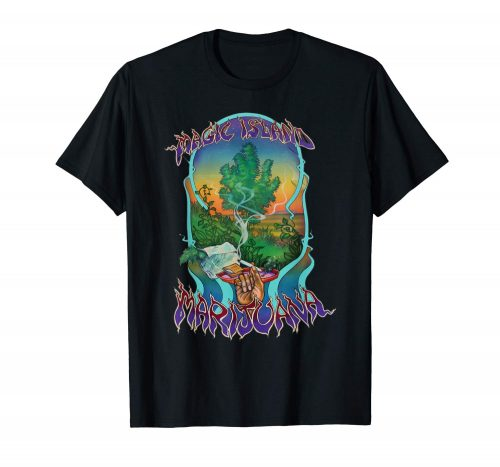 An Image of the black Magic Island Marijuana T-shirt from Ganja Outpost