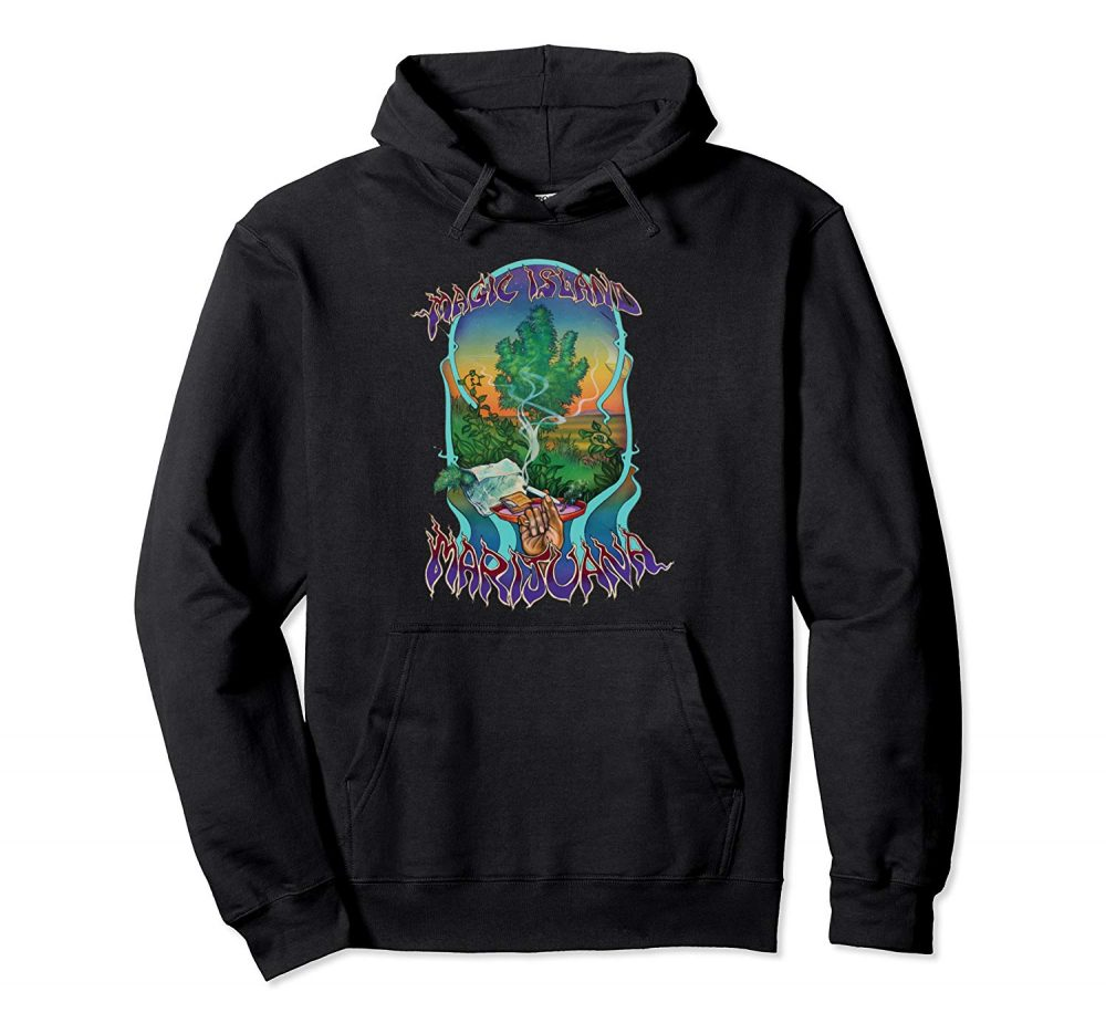 An image of a black magic island marijuana pullover hoodie available at GanjaOutpost.com