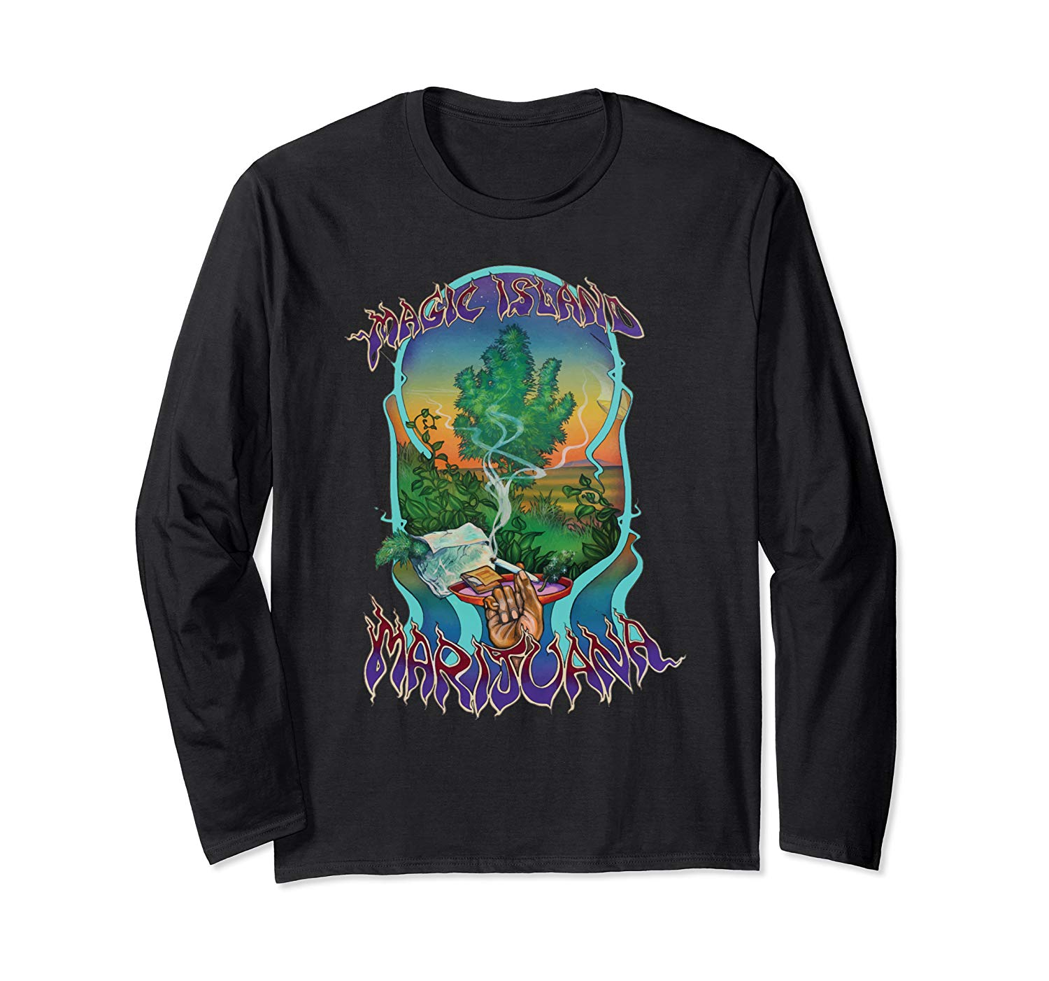 An image of a black magic island marijuana long sleeve from Ganja Outpost.