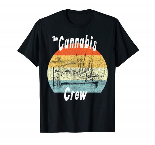 An image of a black colored Retro Cannabis Crew T-shirt from Ganja Outpost.