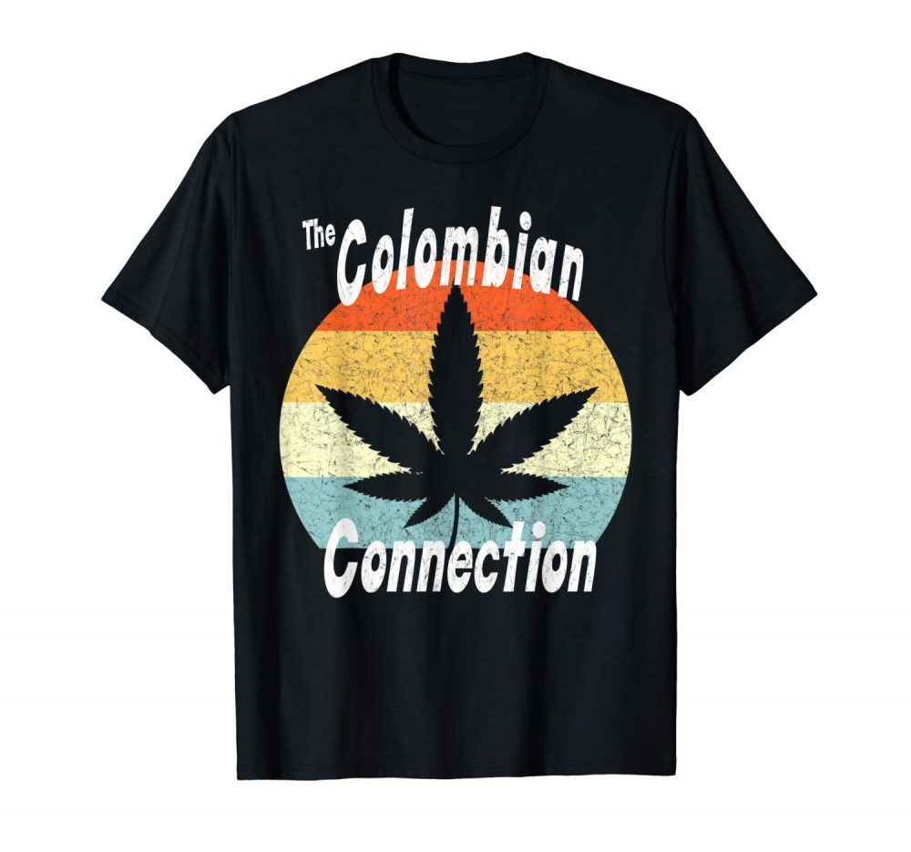 An image of a black retro Colombian Connection T-shirt from Ganja Outpost.