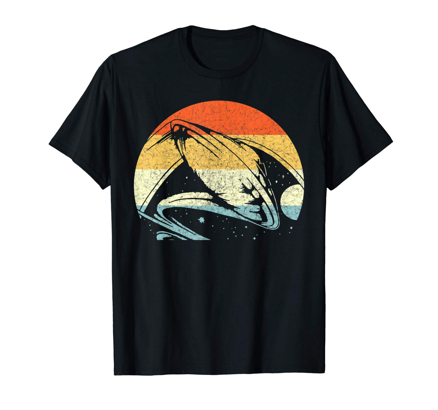 An image of a balck retro spaceship ufo lovers t-shirt from Ganja Outpost