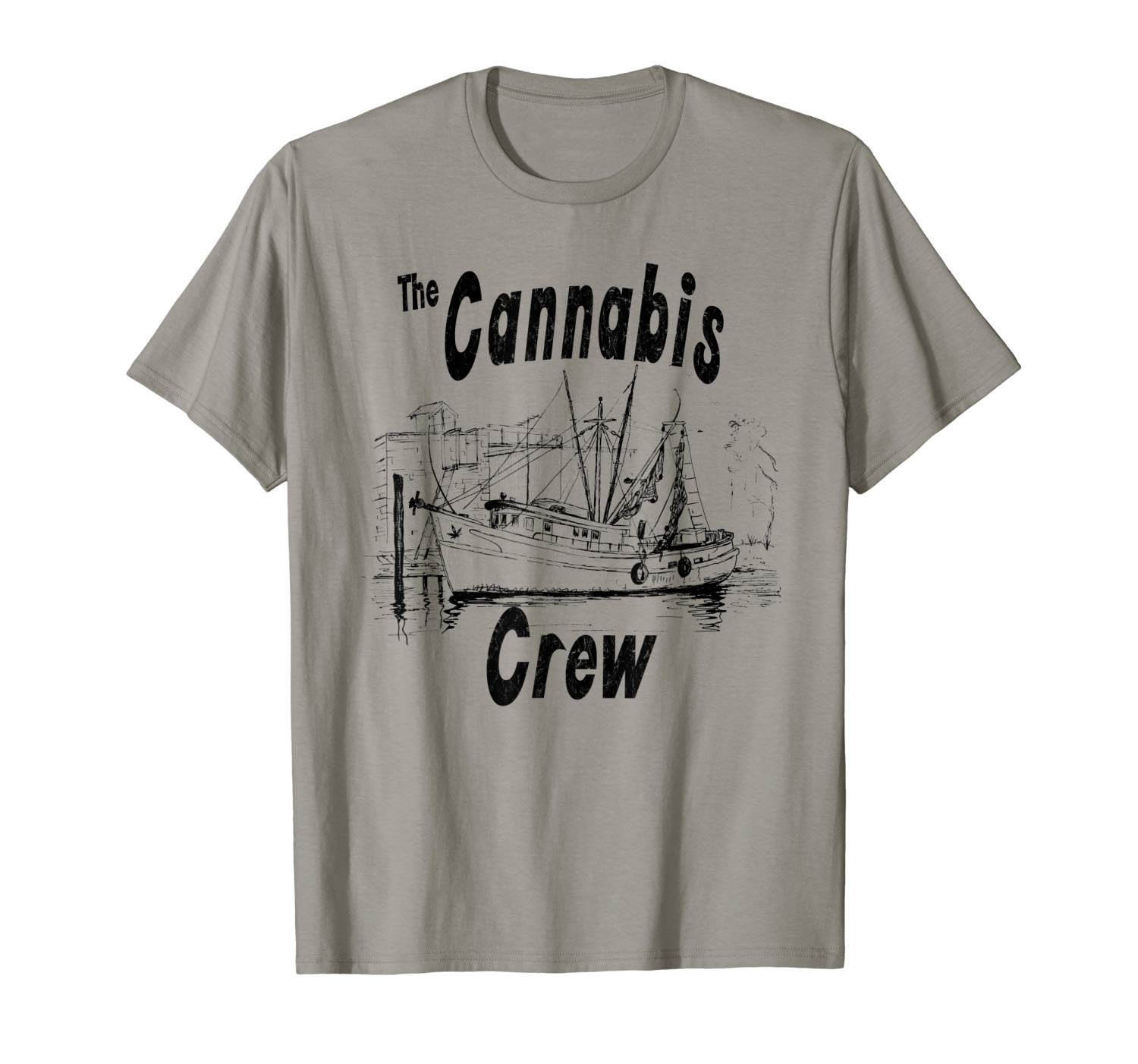 AN image of a slate colored Cannabis Crew T-shirt from Ganja Outpost.