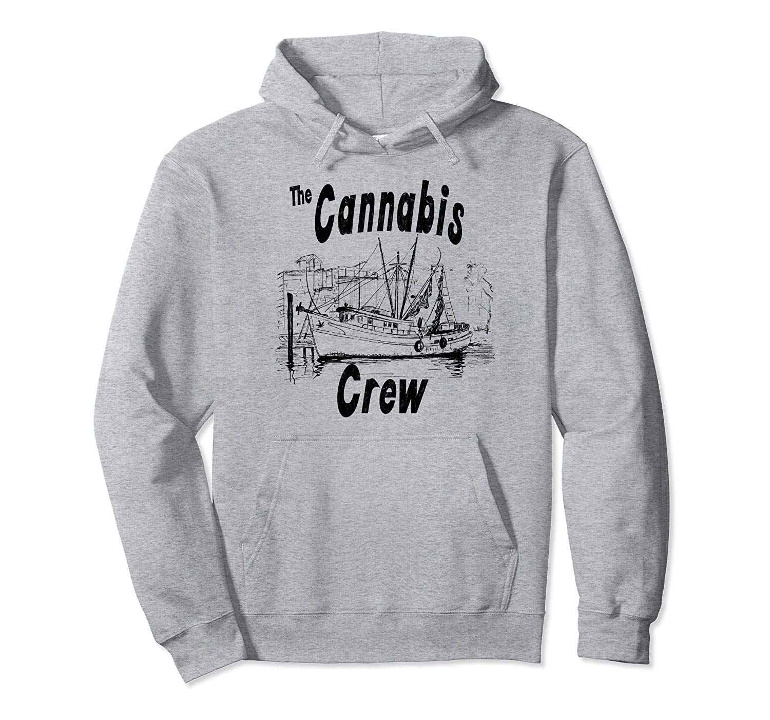 An inage of a heather grey Cannabis Crew Hoodie from Ganja Outpost