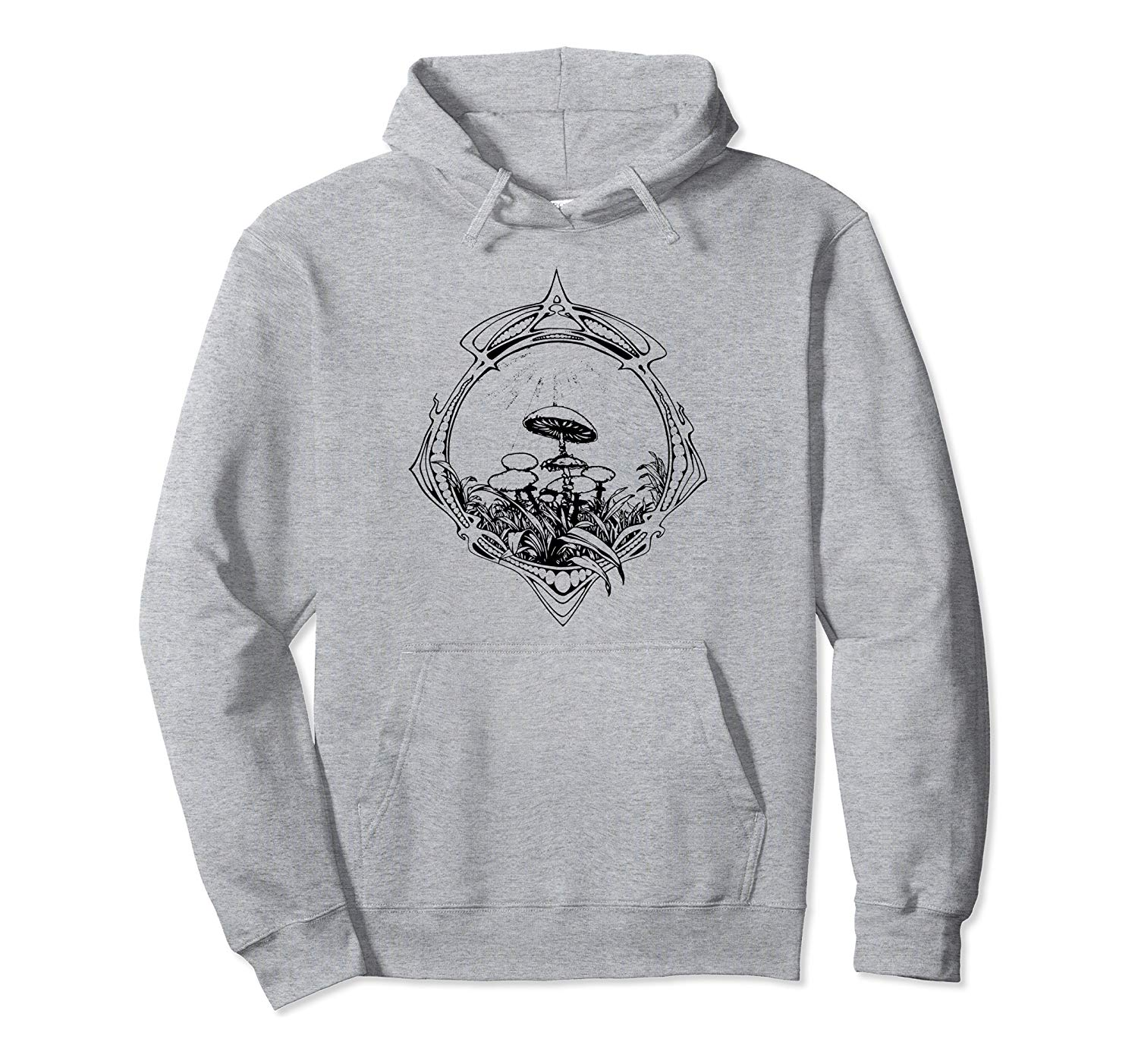 An image of a heather grey vintage magic mushrooms pullove rhoodie from Ganja Outpost.