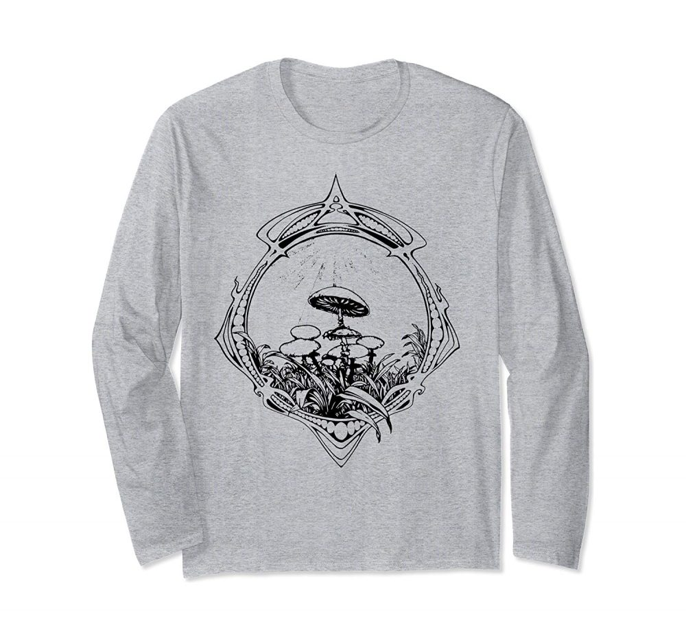 An image of a long sleeve magic mushrooms vintage psychedelic tshirts from Ganja Outpost.