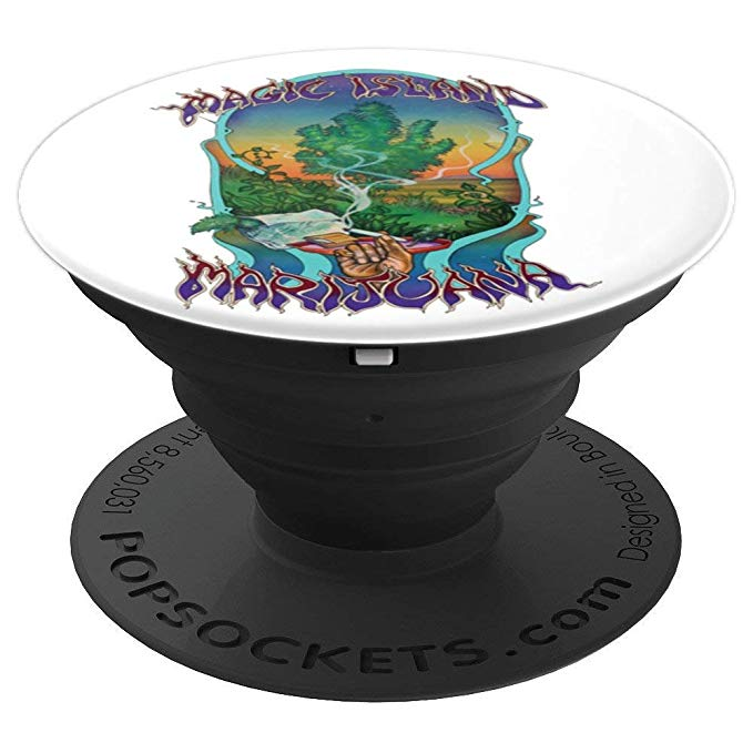 An image of the expanded view of the magic island marijuana vintage retro popsocket from Ganja Outpost.