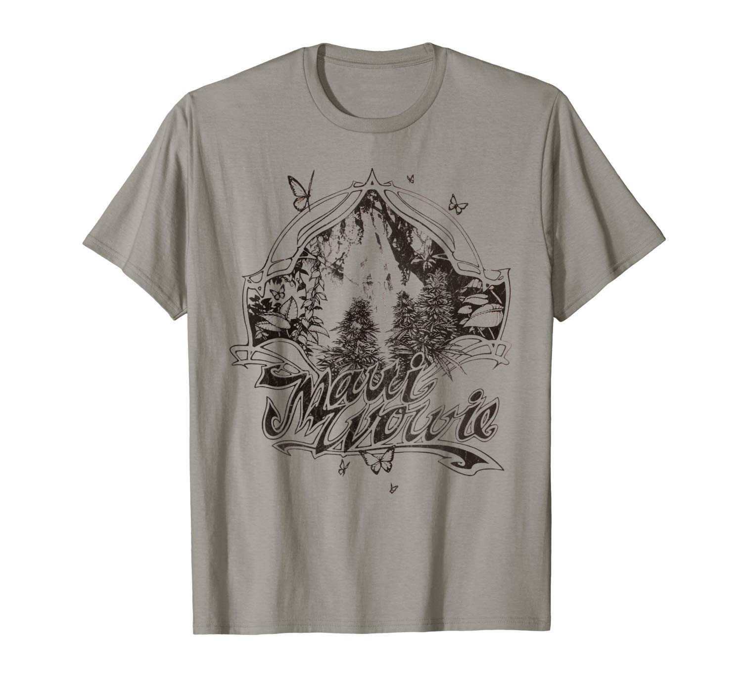 An image of the slate colored Maui Wowie Blackline Vintage Cannabis T-shirt from Ganja Outpost