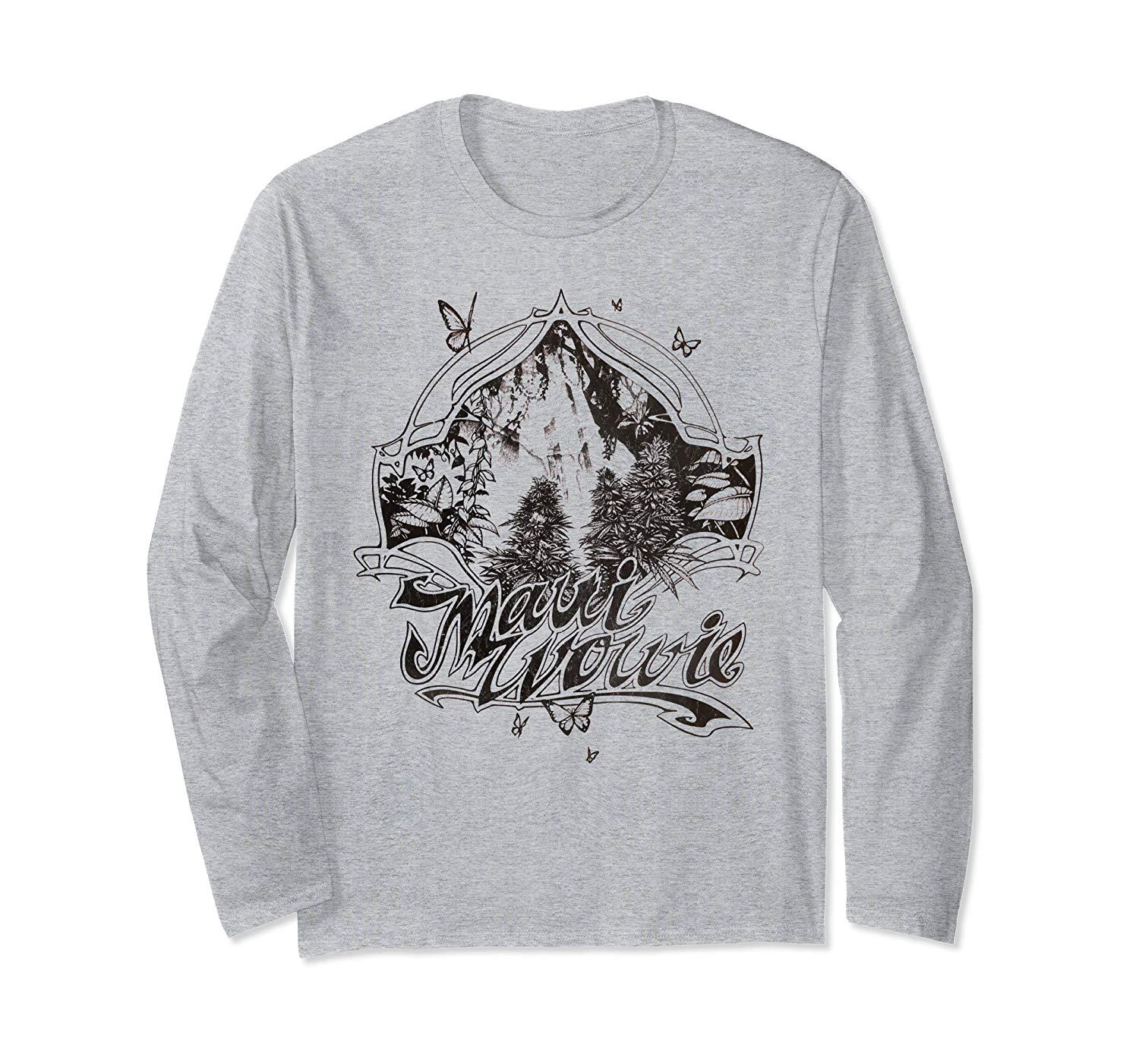 An image of the heather grey colored Maui Wowie Blackline Vintage Cannabis Long Sleeve T-shirt from Ganja Outpost