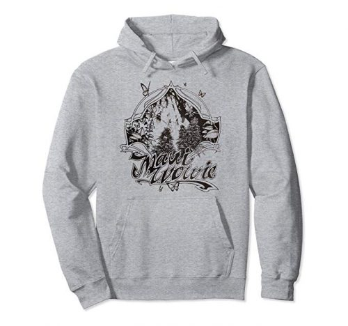 An image of the heather grey colored Maui Wowie Blackline Vintage Cannabis pullover hoodie from Ganja Outpost
