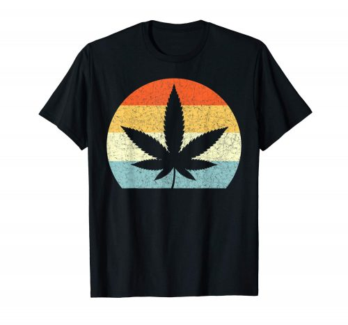 An image of a black retro marijuana leaf t-shirt from Ganja Outpost.