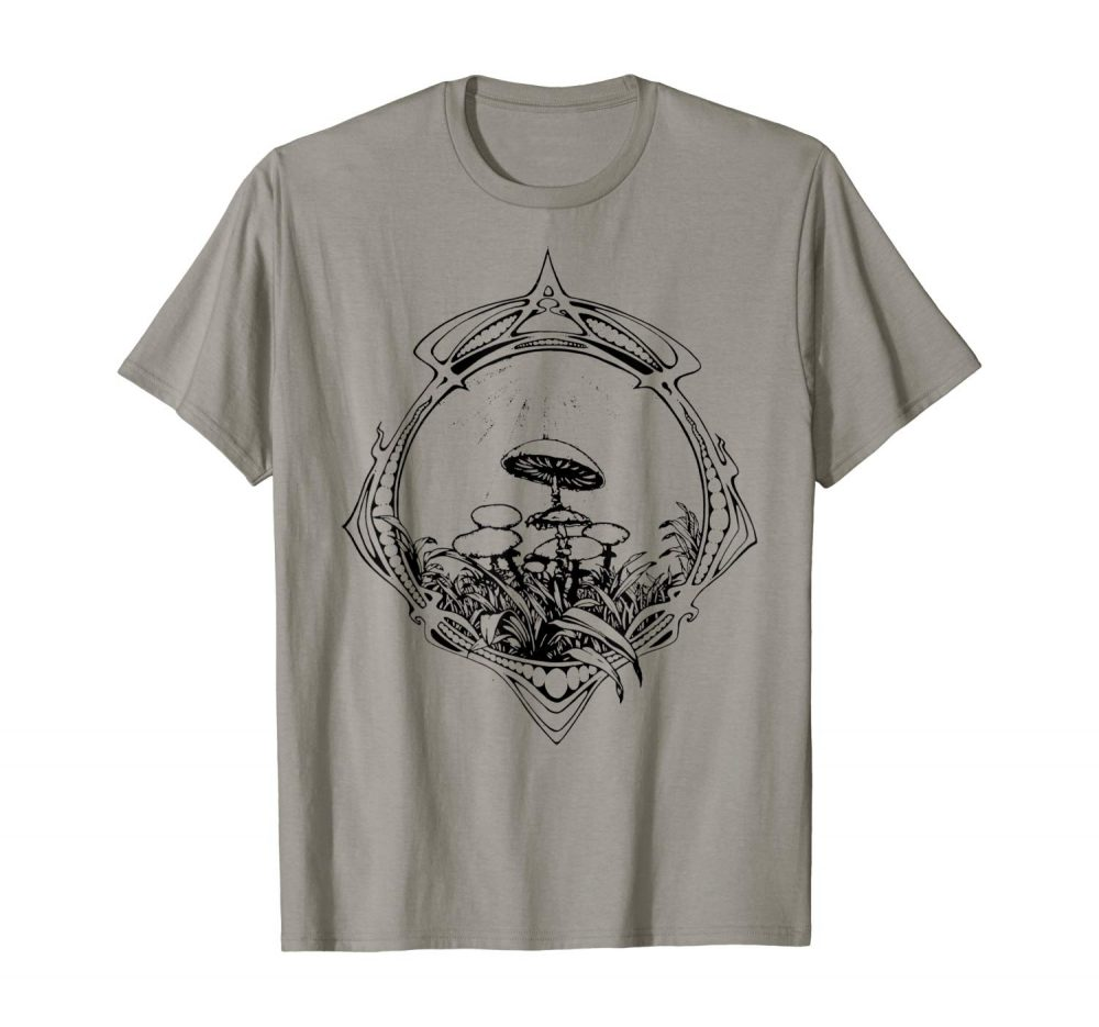 An Image of a slate Magic Mushroom tshirt from Ganja Outpost vintage psychedelic apparel.