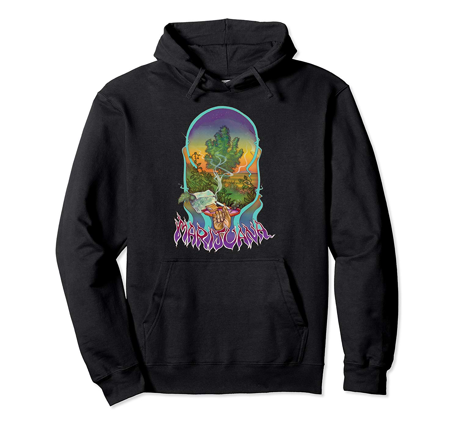 An Image of the black Smoke Marijuana pullover Hoodie from Ganja Outpost