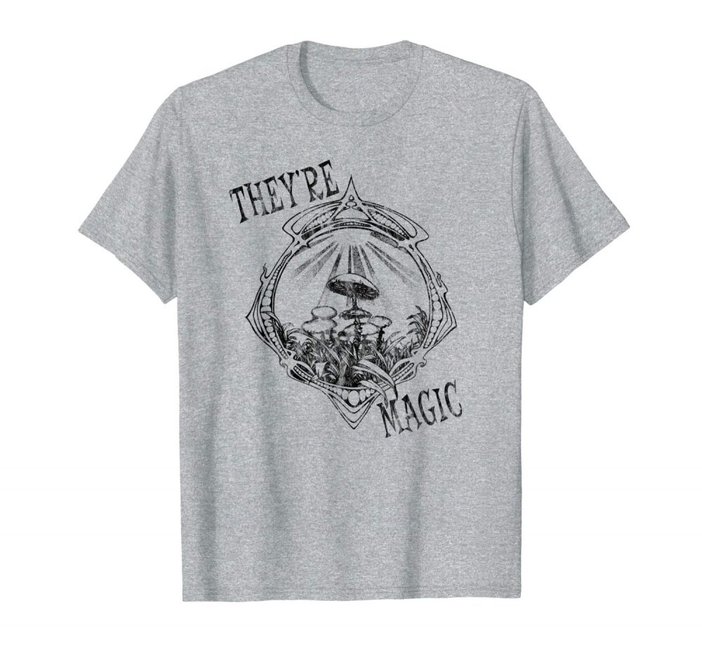 An image of a heather grey They're Magic Mushrooms T-shirt exclusively from Ganja Outpost