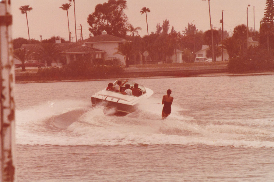 An image of pot smuggler skip steele and his friends water skiing in early  1970's