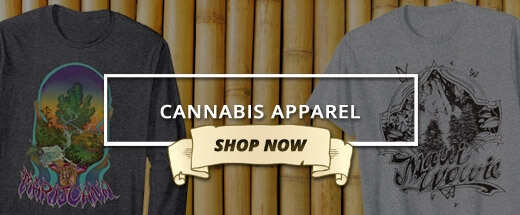 An image of a button for the cannabis apparel sold on the Ganja Outpost store.